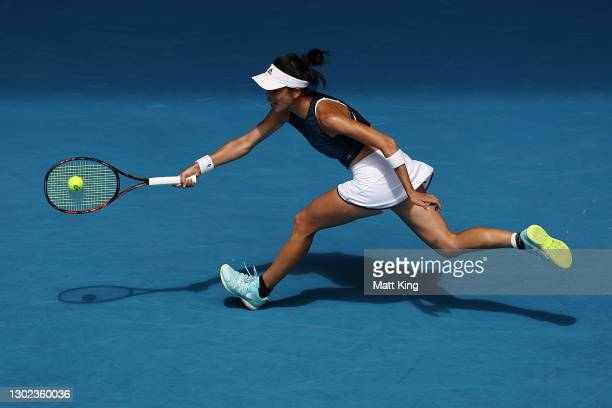 Su-Wei Hsieh of Chinese Taipei plays a forehand in her Women's Singles Quarterfinals match against Naomi Osaka of Japan during day nine of the 2021...