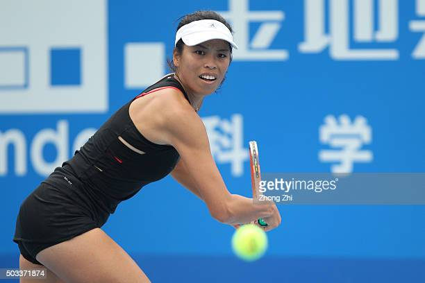 SuWei Hsieh of Chinese Taipei returns a shot during the match against Duan Yingying of China during Day 2 of 2016 WTA Shenzhen Open at Longgang...