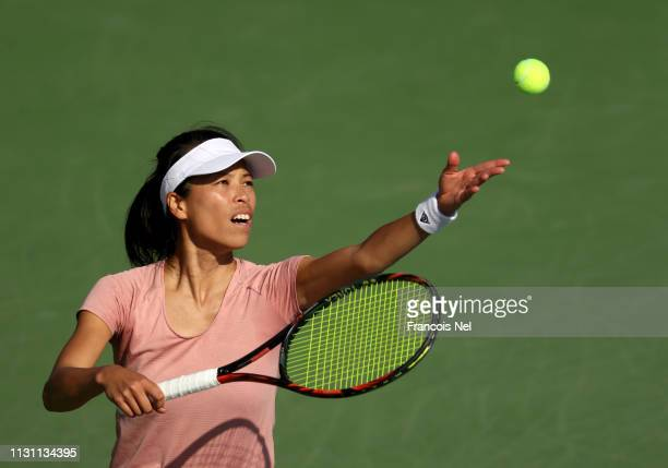 SuWei Hsieh of Chinese Taipei serves in her match against Karolina Pliskova of the Czech Republic during day five of the WTA Dubai Duty Free Tennis...