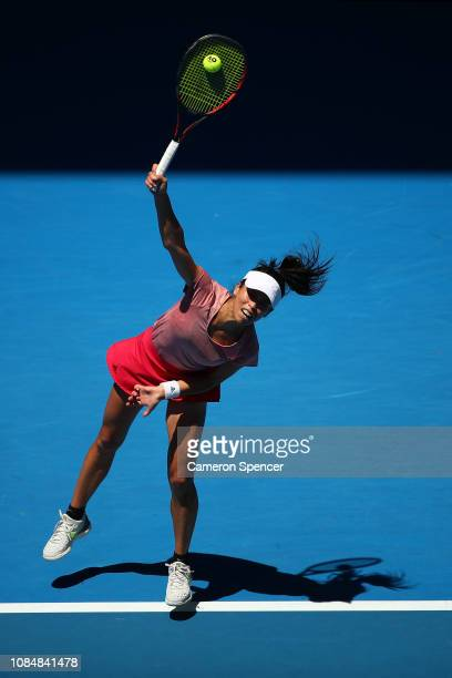 SuWei Hsieh of Chinese Taipei serves in her third round match against Naomi Osaka of Japan during day six of the 2019 Australian Open at Melbourne...
