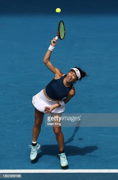 Su-Wei Hsieh of Chinese Taipei serves in her Women's Singles Quarterfinals match against Naomi Osaka of Japan during day nine of the 2021 Australian...
