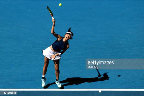 Su-Wei Hsieh of Chinese Taipei serves in her Women's Singles second round match against Bianca Andreescu of Canada during day three of the 2021...