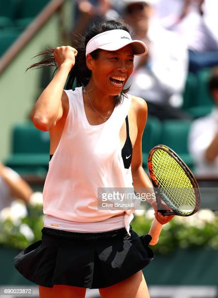 Su-Wei Hsieh of Taipei celebrates after winning the first round match against Johanna Konta of Great Britain on day three of the 2017 French Open at...