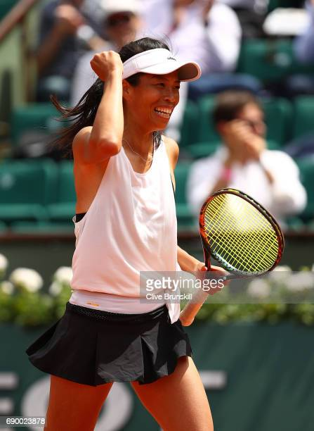 SuWei Hsieh of Taipei celebrates after winning the first round match against Johanna Konta of Great Britain on day three of the 2017 French Open at...