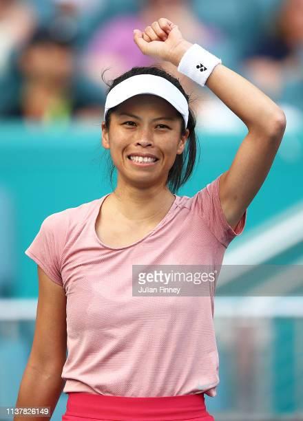 Su-Wei Hsieh of Taipei celebrates defeating Naomi Osaka of Japan during the Miami Open Tennis on March 23, 2019 in Miami Gardens, Florida.