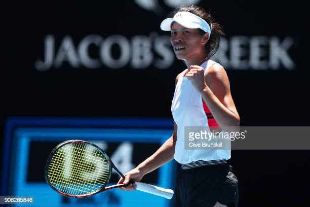 SuWei Hsieh of Taipei celebrates winning a point in her second round match against Garbine Muguruza of Spain on day four of the 2018 Australian Open...