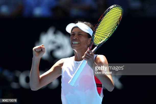 SuWei Hsieh of Taipei celebrates winning match point in her second round match against Garbine Muguruza of Spain on day four of the 2018 Australian...