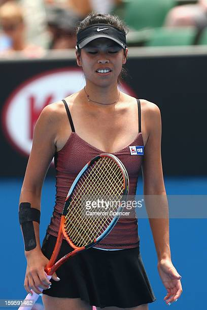 SuWei Hsieh of Taipei feels the heat in her second round match against Svetlana Kuznetsova of Russia during day four of the 2013 Australian Open at...