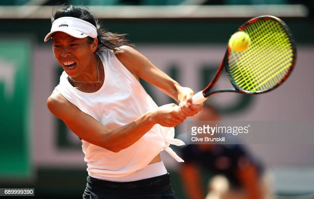 SuWei Hsieh of Taipei hits a backhand during the first round match against Johanna Konta of Great Britain on day three of the 2017 French Open at...