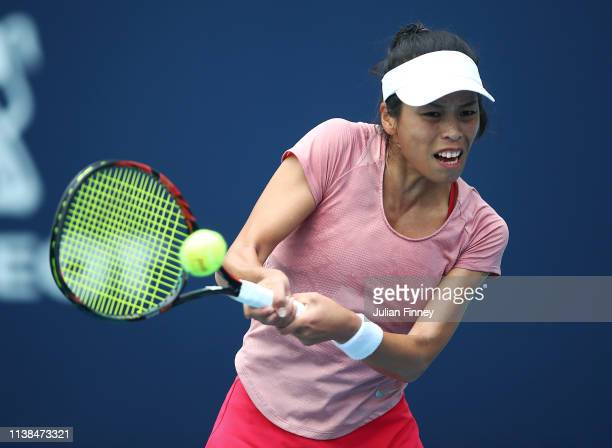 SuWei Hsieh of Taipei in action against Anett Kontaveit of Estonia during the Miami Open tennis on March 26 2019 in Miami Gardens Florida