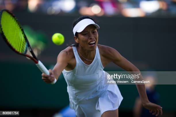 SuWei Hsieh of Taipei in action during her defeat by Johanna Konta [6] of Great Britain in their Ladies' Singles First Round Match at All England...