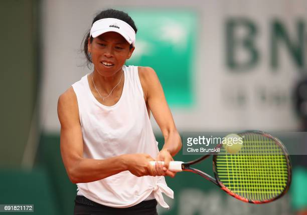 SuWei Hsieh of Taipei plays a backhand during the ladies singles third round match against Caroline Garcia of France on day seven of the 2017 French...