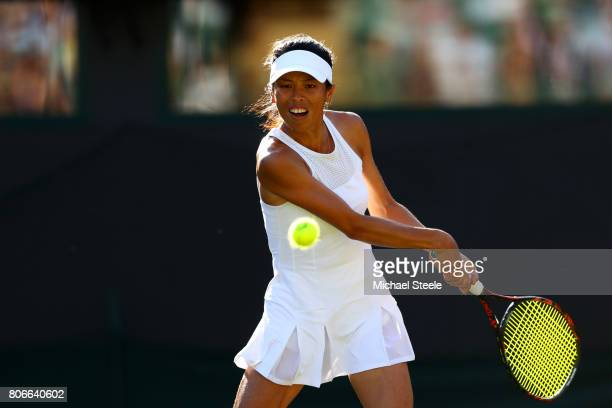 SuWei Hsieh of Taipei plays a backhand during the Ladies Singles first round match against Johanna Konta of Great Britain on day one of the Wimbledon...