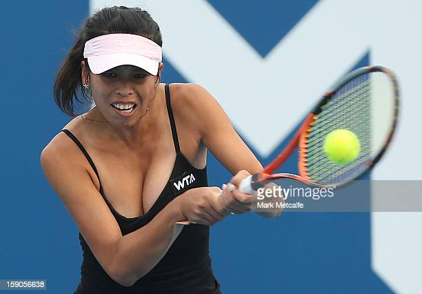 SuWei Hsieh of Taipei plays a backhand in her first round match against Shuai Peng of China during day four of the Hobart International at Domain...
