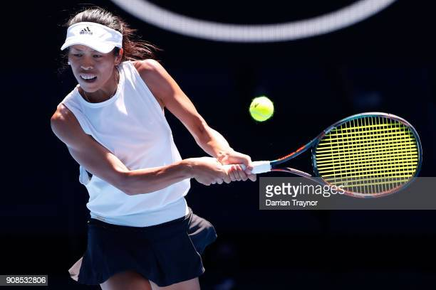 SuWei Hsieh of Taipei plays a backhand in her fourth round match against Angelique Kerber of Germany on day eight of the 2018 Australian Open at...