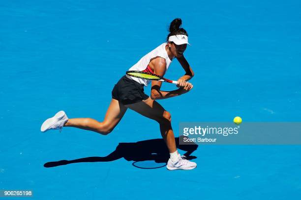 SuWei Hsieh of Taipei plays a backhand in her second round match against Garbine Muguruza of Spain on day four of the 2018 Australian Open at...