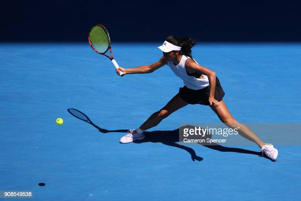 SuWei Hsieh of Taipei plays a forehand in her fourth round match against Angelique Kerber of Germany on day eight of the 2018 Australian Open at...