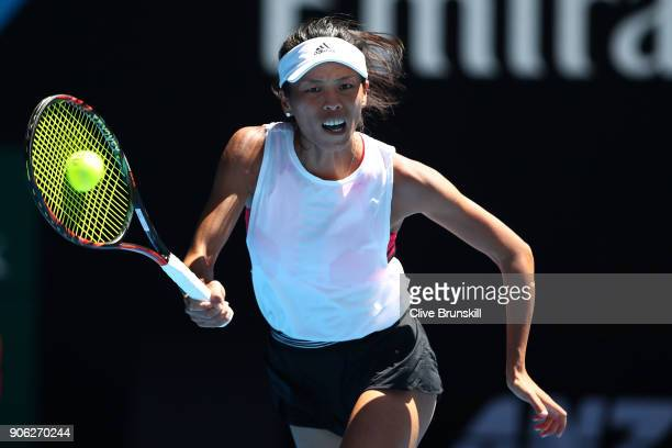SuWei Hsieh of Taipei plays a forehand in her second round match against Garbine Muguruza of Spain on day four of the 2018 Australian Open at...
