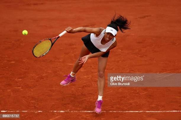 SuWei Hsieh of Taipei serves during the first round match against Johanna Konta of Great Britain on day three of the 2017 French Open at Roland...