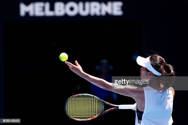 SuWei Hsieh of Taipei serves in her fourth round match against Angelique Kerber of Germany on day eight of the 2018 Australian Open at Melbourne Park...