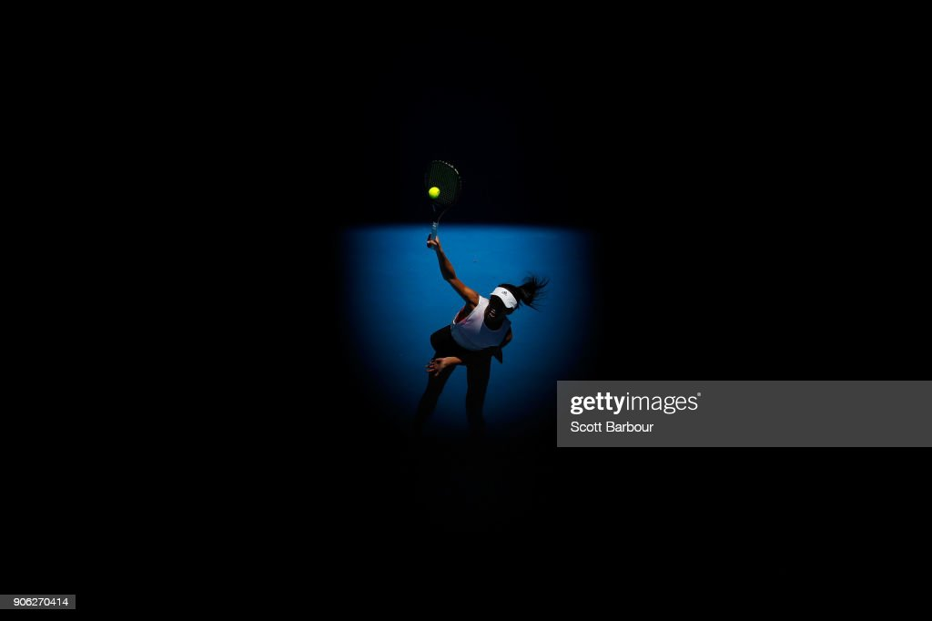 Su-Wei Hsieh of Taipei serves in her second round match against Garbine Muguruza of Spain on day four of the 2018 Australian Open at Melbourne Park on January 18, 2018 in Melbourne, Australia.