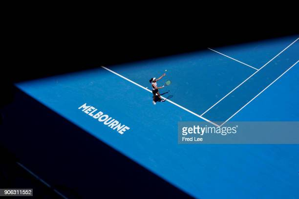 SuWei Hsieh of Taipei serves in her second round match against Garbine Muguruza of Spain on day four of the 2018 Australian Open at Melbourne Park on...