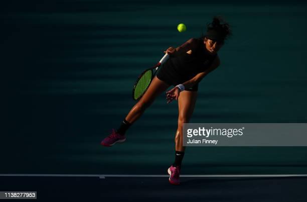 Su-Wei Hsieh of Taipei serves to Caroline Wozniacki of Denmark during the Miami Open Tennis on March 25, 2019 in Miami Gardens, Florida.