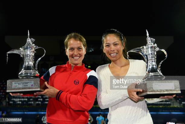 SuWei Hsieh of Taiwan and Barbora Strycova of Czech Republic pose with their trophies after winning their Double's Final match against Lucie Hradecka...