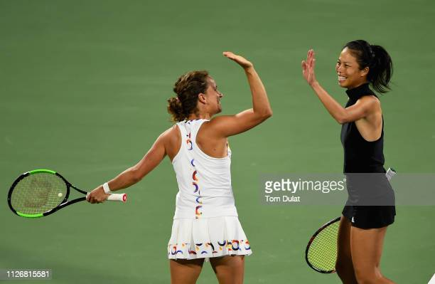 SuWei Hsieh of Taiwan and Barbora Strycova of Czech Republic celebrate winning their Double's Final match against Lucie Hradecka of Czech Republic...