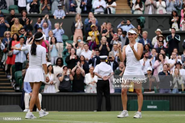 Su-Wei Hsieh of Taiwan and Elise Mertens of Belgium celebrate winning their Ladies' Doubles Final match against Veronika Kudermetova of Russia and...