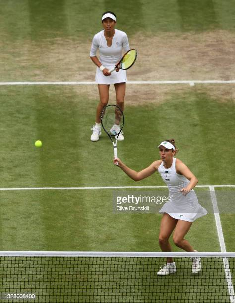 Su-Wei Hsieh of Taiwan and Elise Mertens of Belgium in action during their Ladies' Doubles Final match against Veronika Kudermetova of Russia and...