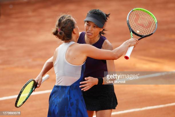 Su-wei Hsieh of Taiwan and playing partner Barbora Strycova of The Czech Republic celebrate match point after their women's doubles final match...