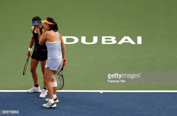 SuWei Hsieh of Taiwan and Shuai Peng of China talk tactics during the Women's Doubles Final match on day six of the of the WTA Dubai Duty Free Tennis...