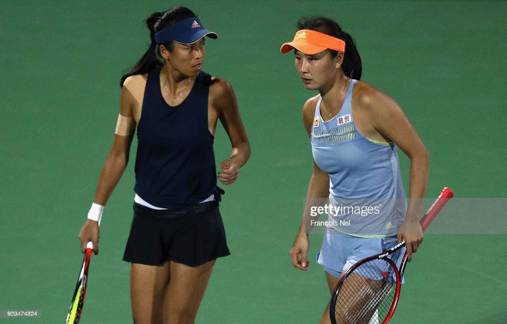 Su-Wei Hsieh of Taiwan and Shuai Peng of China talk tactics in the women's doubles semi final match against Ekaterina Makarova of Russia and Elena Vesnina of Russia during day five of the WTA Dubai Duty Free Tennis Championship at the Dubai Tennis Stadium on February 23, 2018 in Dubai, United Arab Emirates.