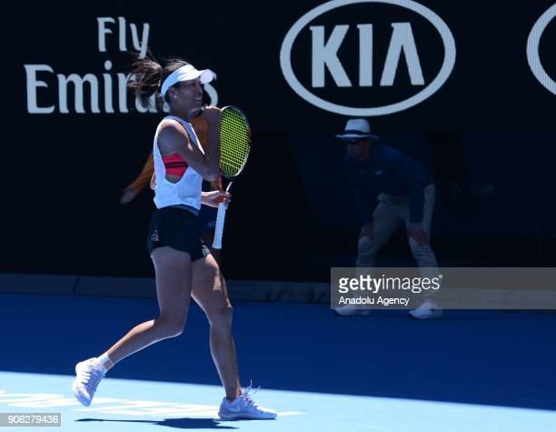 SuWei Hsieh of Taiwan celebrates a point against Garbine Muguruza of Spain during the fourth day of 2018 Australia Open at Melbourne Park in...