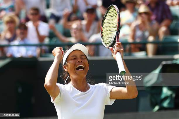 Su-Wei Hsieh of Taiwan celebrates winning match point against Simona Halep of Romania during their Ladies' Singles third round match on day six of...
