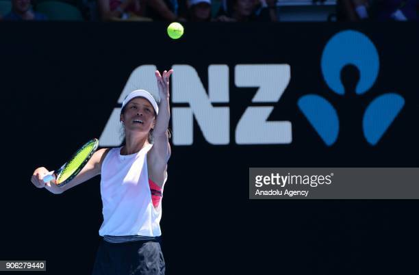 SuWei Hsieh of Taiwan in action against Garbine Muguruza of Spain during the fourth day of 2018 Australia Open at Melbourne Park in Melbourne...