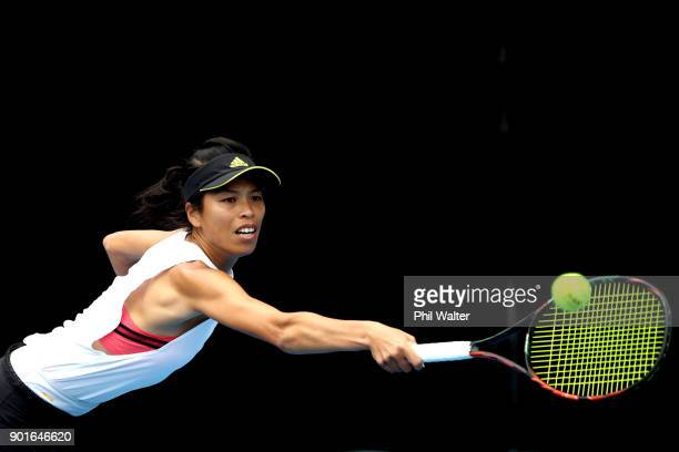 SuWei Hsieh of Taiwan plays a backhand in her quarter final match against Barbora Strycova of the Czech Republic during day six of the ASB Women's...