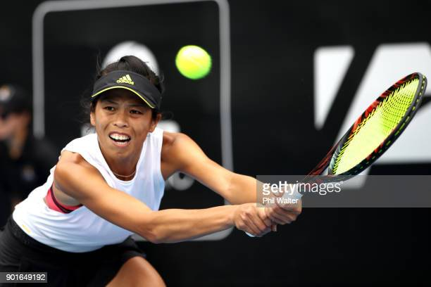 Su-Wei Hsieh of Taiwan plays a backhand in her quarter final match against Barbora Strycova of the Czech Republic during day six of the ASB Women's...