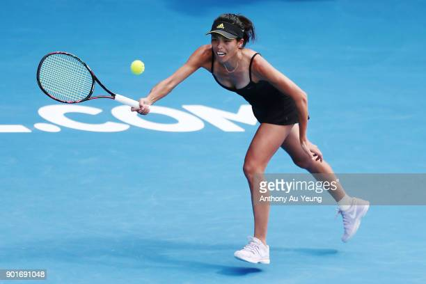 SuWei Hsieh of Taiwan plays a forehand in her semi final match against Julia Goerges of Germany during day six of the ASB Women's Classic at ASB...