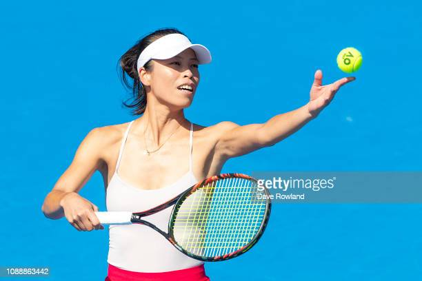 SuWei Hsieh of Taiwan plays a shot in her singles match against Monica Puig of Puerto Rico during the ASB Classic at the ASB Tennis Centre on January...