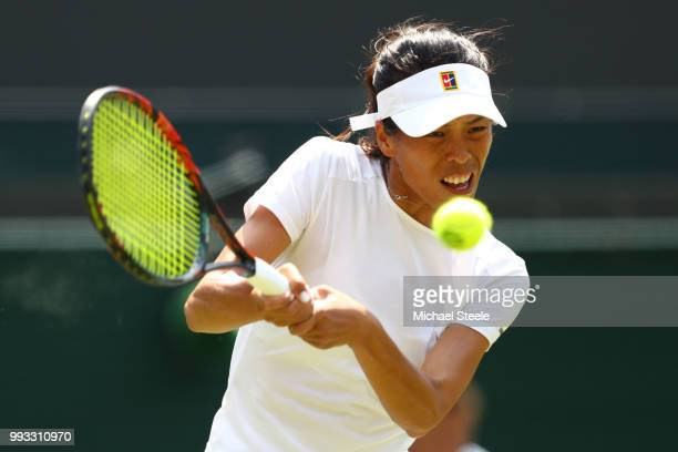 SuWei Hsieh of Taiwan returns a shot against Simona Halep of Romania during their Ladies' Singles third round match on day six of the Wimbledon Lawn...