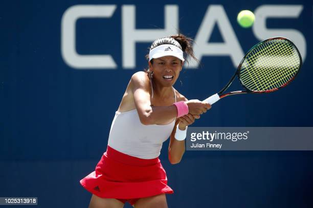 SuWei Hsieh of Taiwan returns the shot during her women's singles second round match against Dominika Cibulkova of Slovakia on Day Four of the 2018...
