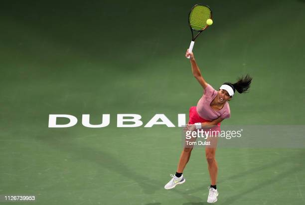 Su-Wei Hsieh of Taiwan serves during her semi final match against Petra Kvitova of Czech Republic on day Six of the Dubai Duty Free Tennis Stadium on...
