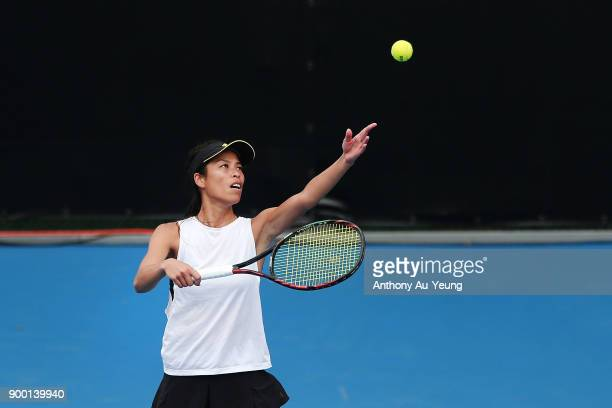 SuWei Hsieh of Taiwan serves in her first round match against Nao Hibino of Japan during day one of the ASB Women's Classic at ASB Tennis Centre on...