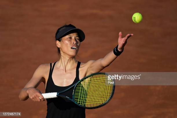 Su-wei Hsieh of Taiwan serves in her round one match against Elise Mertens of Belgium during day one of the Internazionali BNL D'Italia at Foro...