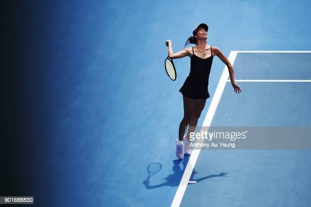 SuWei Hsieh of Taiwan serves in her semi final match against Julia Goerges of Germany during day six of the ASB Women's Classic at ASB Tennis Centre...