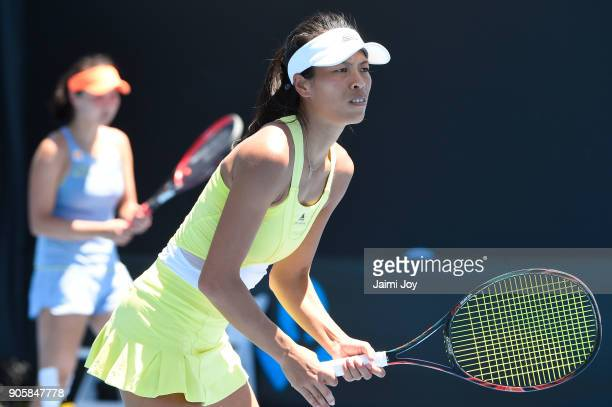 SuWei Hsieh of Tapei looks on in her first round doubles match with Shuai Peng of China against Mihaela Buzarnescu of Romania and Maria Irigoyen of...