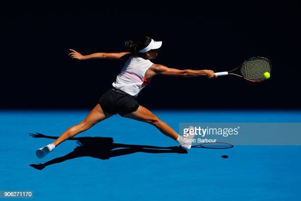 SuWei Shieh of Taiwan plays a backhand in her second round match against Garbine Muguruza of Spain on day four of the 2018 Australian Open at...