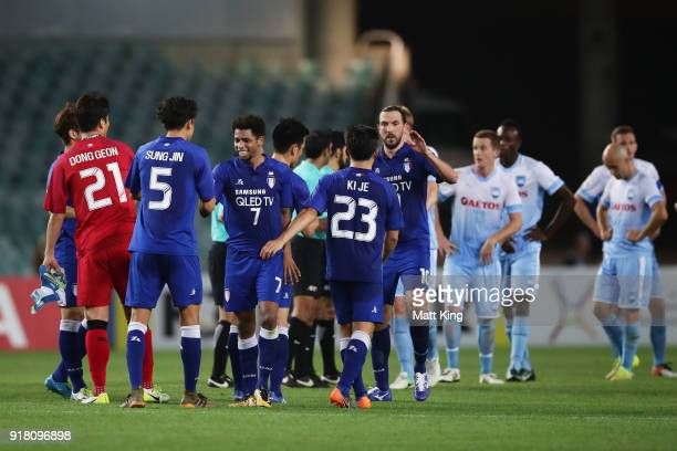Suwon Bluewings celebrate victory during the AFC Asian Champions League match between Sydney FC and Suwon Bluewings at Allianz Stadium on February 14...